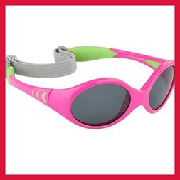 Baby Sunglasses For & Toddler Strap PINK Frame GREEN Temples