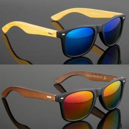 Bamboo Sunglasses Wooden Men Women Retro Vintage Wood Mirror
