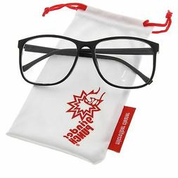 grinderPUNCH Black Large Nerdy Thin Plastic Frame Clear Lens
