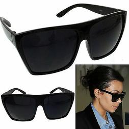 BLACK Oversized Large XL Big Sunglasses Kim Square Flat Dark