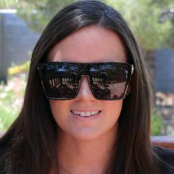 BLACK Oversized Large XL Big Sunglasses Kim Square Flat Dark