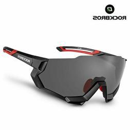 Black RockBros Polarized Cycling Glasses Half Frame Sports S