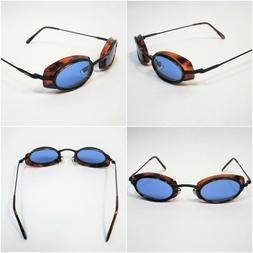 Black/Tortoise Shell Fashion Sunglasses with BLUE Lenses - S