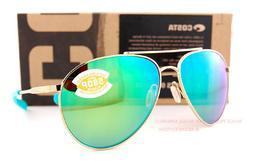 Brand New Costa Del Mar Sunglasses PIPER Shiny Gold Green Mi
