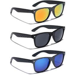 Carbon Fiber Frame Print Retro Vintage Square Sunglasses Men