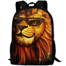 Casual Boys Daypack Backpacks for Big Student Rasta Lion Sun