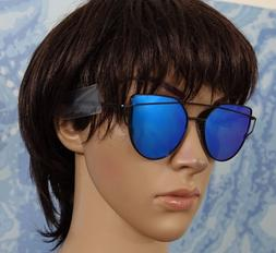 SojoS Cat Eye blue Mirrored Flat Lenses Street Fashion Metal