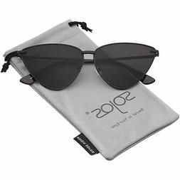 SOJOS Cat Eye Metal Frame Sunglasses Vintage Mirrored Women