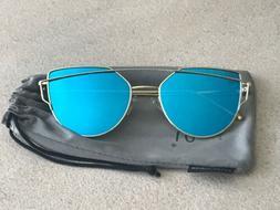 SojoS Cat Eye Mirrored Flat Lenses Street Fashion Metal Fram