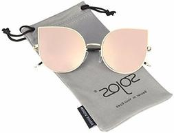 SojoS Cat Eye Mirrored Flat Lenses Ultra Thin Light Metal Fr