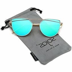 SojoS Cat Eye Sunglasses GREEN Mirrored Flat Lenses GOLD Met