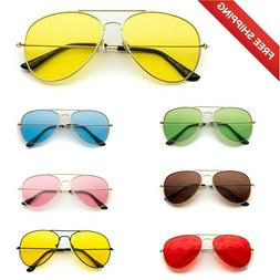 Classic Aviator Style Metal Frame Sunglasses Colored Lens.