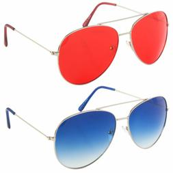 Classic Aviator Sunglasses Blue Red Yellow Color Tinted Lens