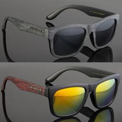 Classic Retro Womens Men Eyewear Sunglasses Faux Wood Reflec