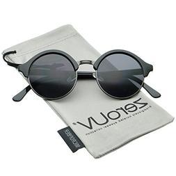 Classic Semi-Rimless Metal Nose Bridge P3 Round Sunglasses 4