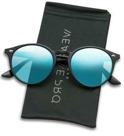 WearMe Pro - Classic Small Round Retro Sunglasses Black Fram