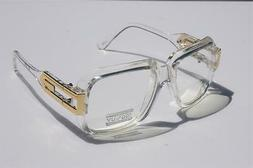 Clear frame Clear Lens Square Retro Sun Glasses Gold Metal A