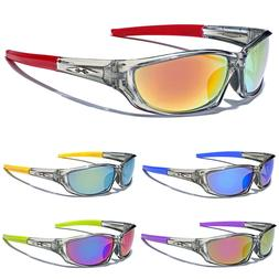 Clear Sport Wrap Frame Men Athletic Sunglasses Baseball Cycl