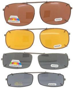 Clip On Sunglasses - Rectangle Frame Glasses - Size + Lens O