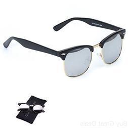 WearMe Pro - Clubmaster Style Sunglasses Retro Mirror Lens S