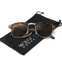 Clubmaster Sunglasses Half Tiger Frame Brown Lens New Vintag