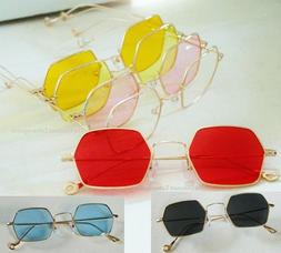Color or Clear Hexagon Lens Glasses _ Lightweight Gold Metal