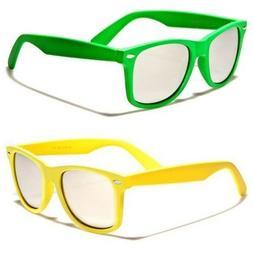 Colorful Soft Rubber Frame Mirrored Lenses Women Men Sunglas