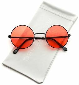 WearMe Pro - Colorful Tinted Retro Circle Sunglasses (Black