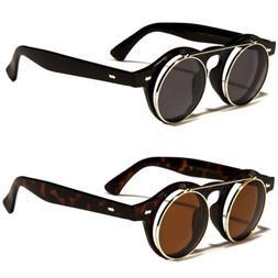Cool Flip Up Lens Steampunk Vintage Retro Style Round Sungla