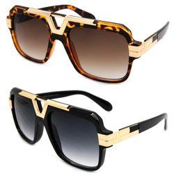 Designer Inspired Oversized Square Sunglasses Metal Bar Retr
