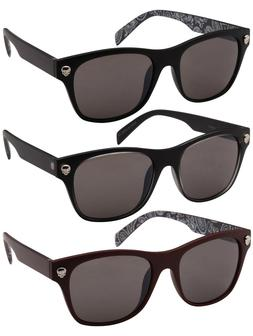 Edge I-Wear Horned Rim Skull Sunglasses with Solid Lens SK54
