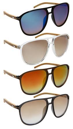 Edge I-Wear Oversized Square Aviator Bamboo Sunglasses  5410