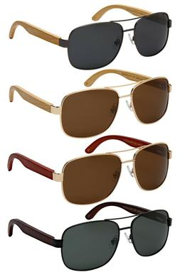 Edge I-Wear Polarized Square Aviator Bamboo Sunglasses w/Spr