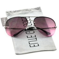 Elite Gradient Oceanic Lens Oversized Rimless Metal Frame Av