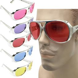 Elvis Silver SUNGLASSES Colored Lens Johnny Knoxville TCB 80