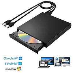 External CD DVD Drive, USB 2.0 Slim Portable CD-RW Drive DVD