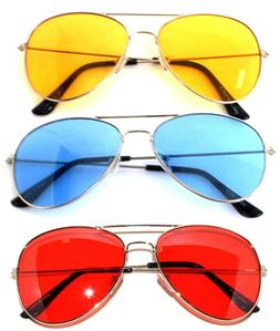 OWL ® Eyewear Aviator Sunglasses Yellow Red Blue Lens Metal