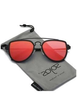 SOJOS Fashion Aviator Unisex Sunglasses Flat Mirrored Lens D