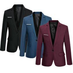 Fashion Men's Slim Fit One Button Suit Blazer Business Coat