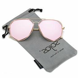SojoS Fashion Metal Frame Flat Mirrored Lens Sunglasses SJ10