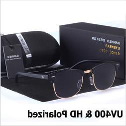 Fashion Retro Polarized Sunglasses Semi Rimless Vintage Mirr