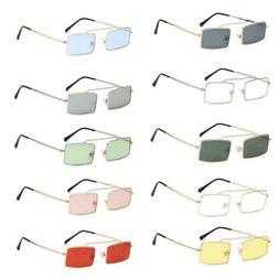 Fashion Women Square Sunglasses Metal Small Rectangular Fram