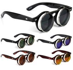 Flip Up Lens Steampunk Round Sunglasses Shades Retro Frame C