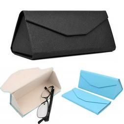 Triangular Folding Eyeglass Case Purse Leather Hard for Glas