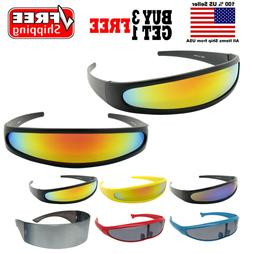 FUTURISTIC PARTY COSTUME CYCLOPS COLOR MIRRORED LENS VISOR S