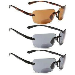 GAMMA RAY 3 Pairs of Sports Bifocal Sunglasses Readers for B