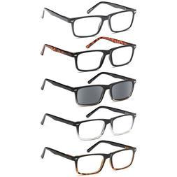 GAMMA RAY 5 Pairs Spring Hinge Reading Glasses Unisex Reader