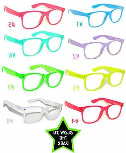 GLOW IN THE DARK VINTAGE RETRO OWL CLEAR LENS SUNGLASSES PAR