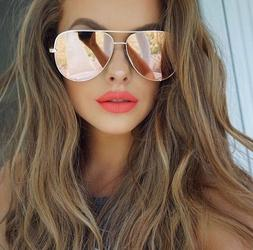 GOLD ROSE Pink Mirror Reflective Lens Women Sunglasses Shadz