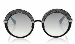 Jimmy Choo GOTHA IXA Round Glitter Sunglasses Black Palladiu